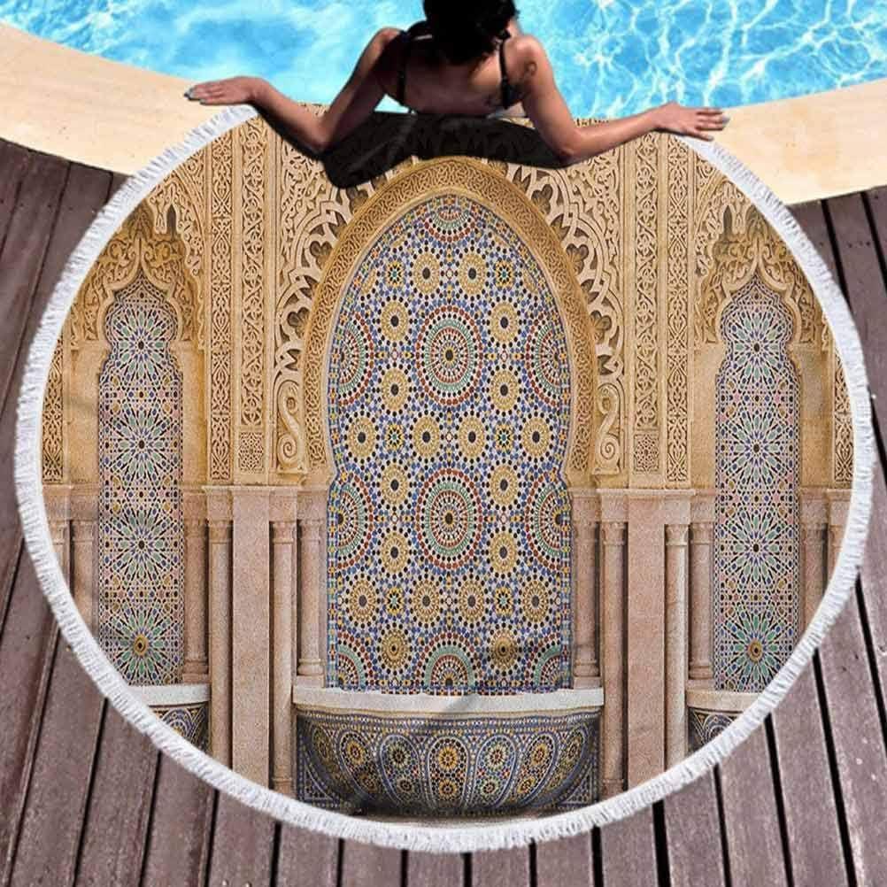 Olie Cam Toalla de Playa Redonda Toalla de Playa marroquí Fuente típica de Azulejos marroquíes en la Ciudad de Rabat, Cerca de la Torre Hassan