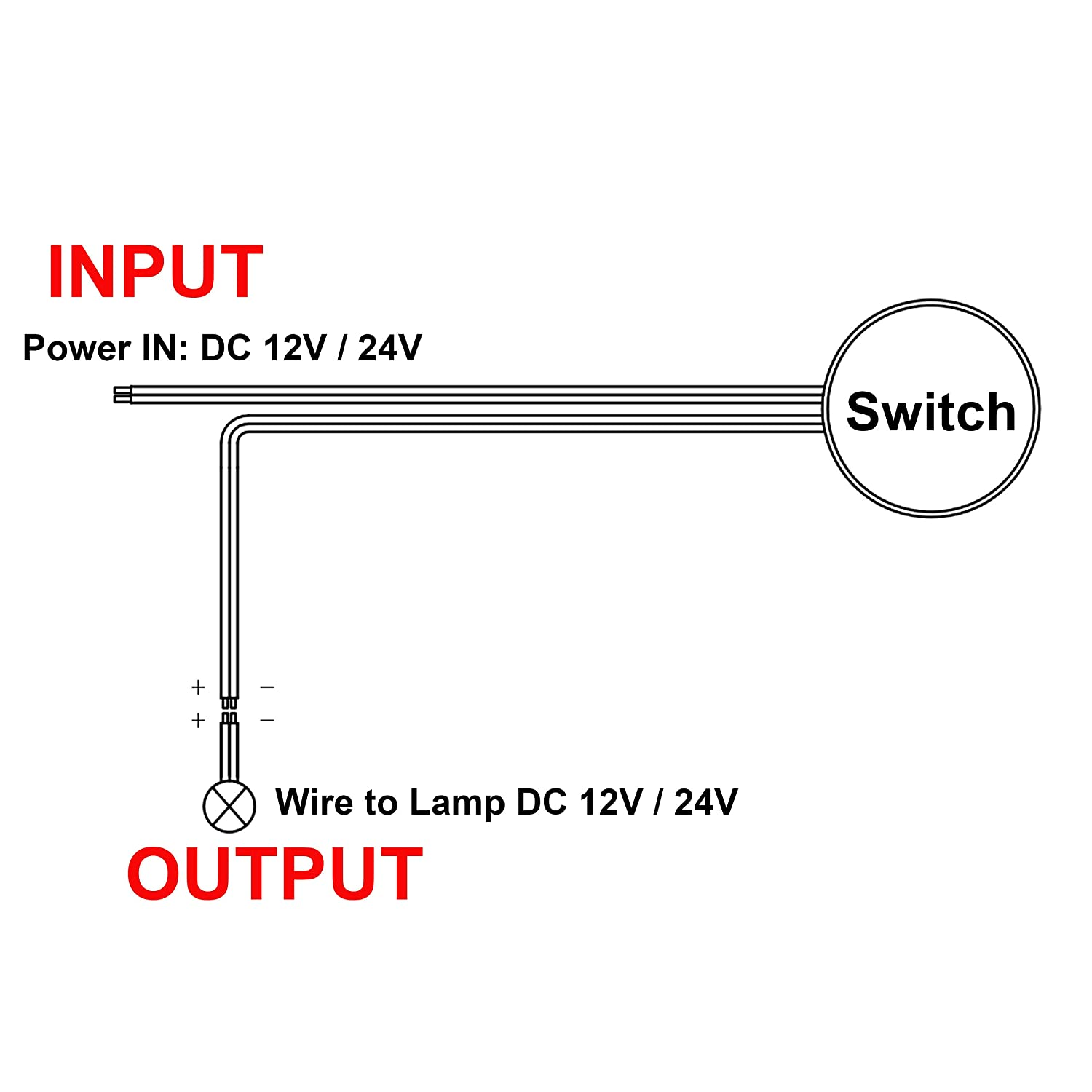 Facon Recessed Wall Touch Dimmer Switch Incandescent and Halogen Bulbs for RV Marine 12Volt // 24Volt DC and Strip Lights Use with LED lights Camper