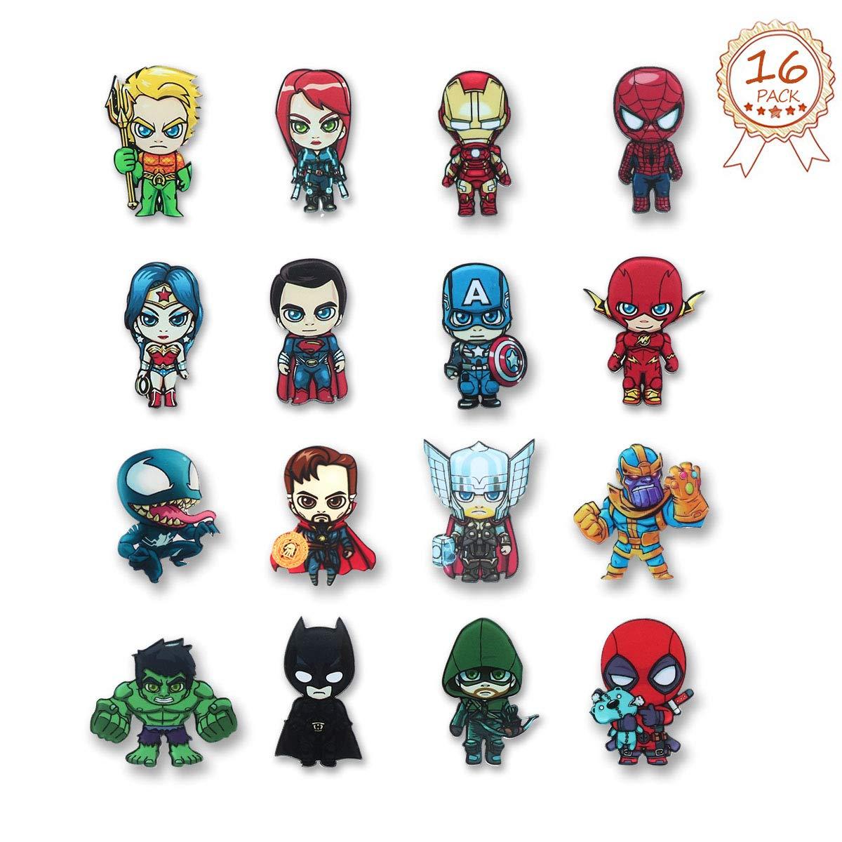 Comic Superhero Refrigerator Magnets HXDZFX Fridge Magnets Set of 16 Marvel The Avengers /& DC Justice League Characters Perfect Decorative Magnet