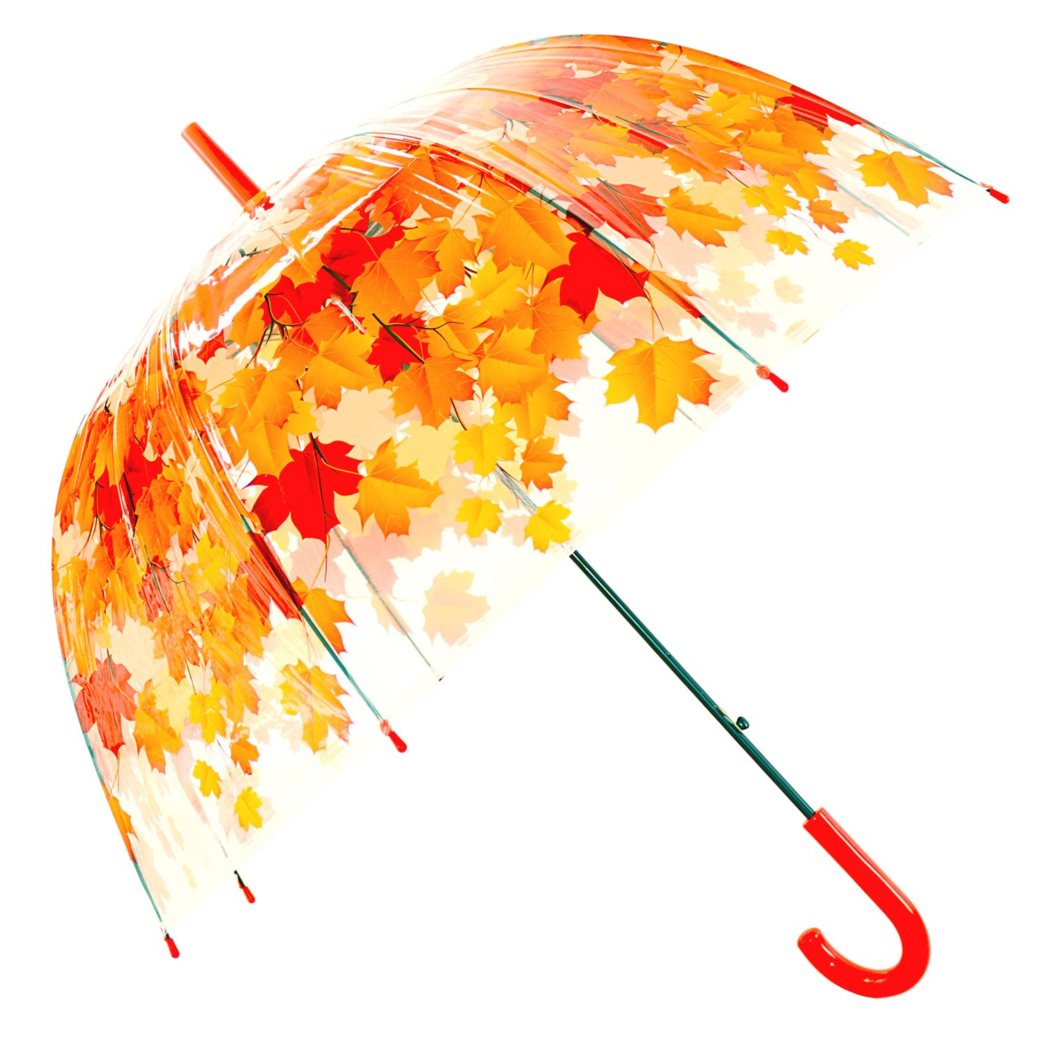 Kung Fu Smith Clear Bubble Dome Umbrella for Kids Girls and Boys, Cute Flowers Leaves Prints & Windproof Kung Fu Smith Clear Umbrella KFN20PU