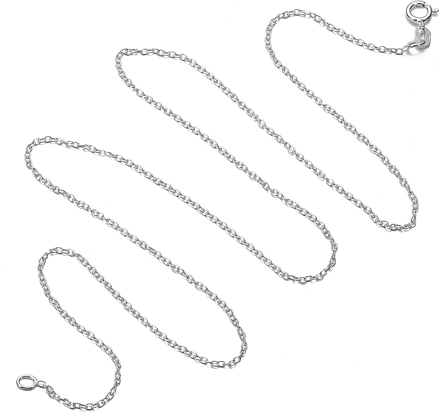 Cable Chain Necklace Sterling Silver Italian 1.3mm Rhodium Plated Nickel Free 18 inch