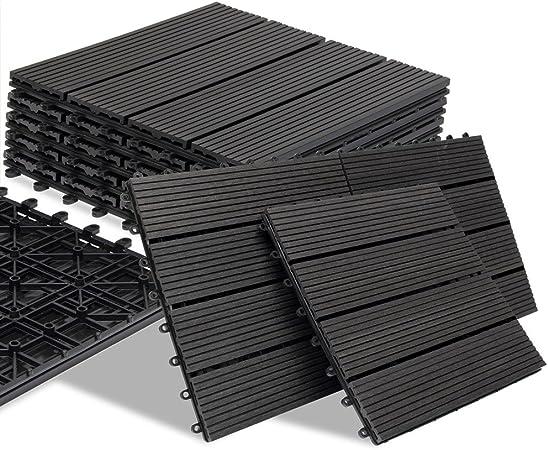 Deuba 11x Baldosas de madera WPC compuesto Antracita 30 x 30 cm ...