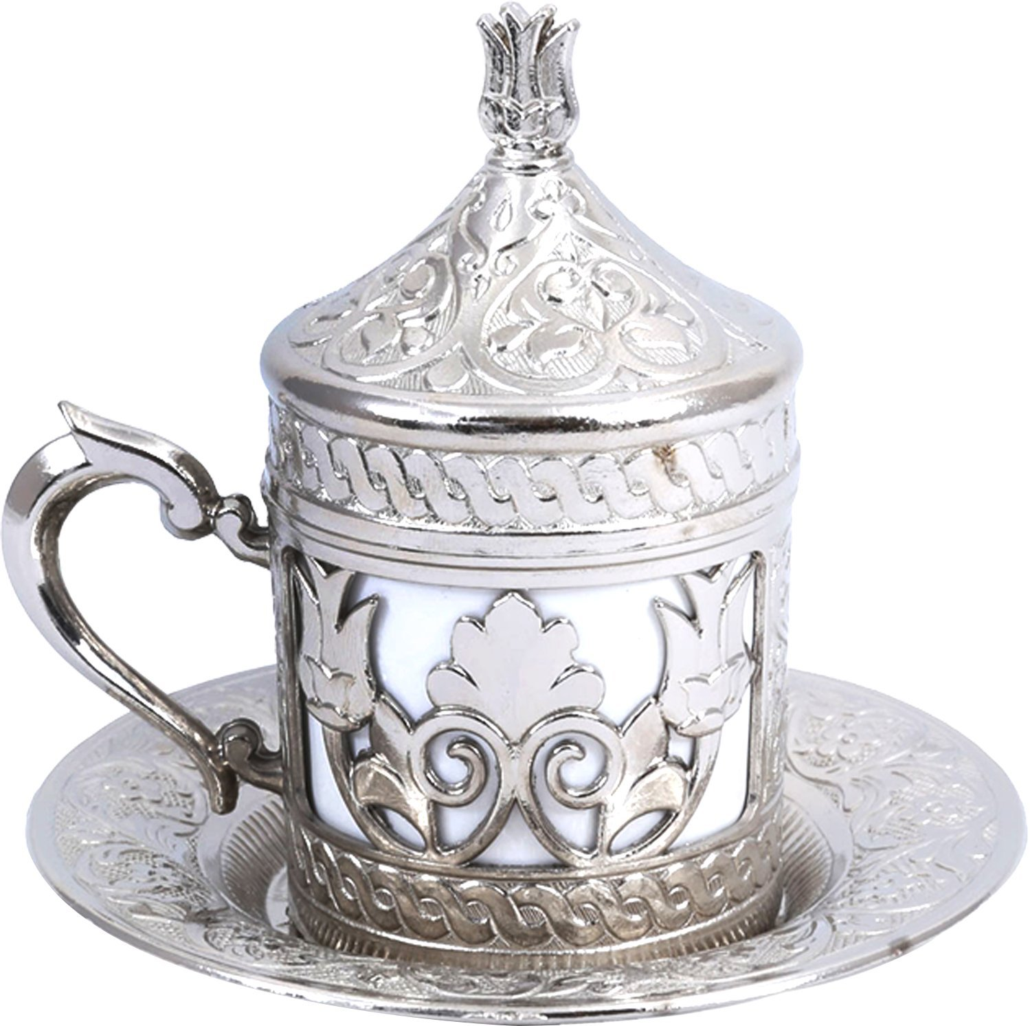Premium Zamak Construction Handmade Serving Set for 2 Include Cups Espresso and Tea Set Sugar Bowl and Tray Saucers Handcraft Ideas 11-Pieces Turkish Coffee CS2-204