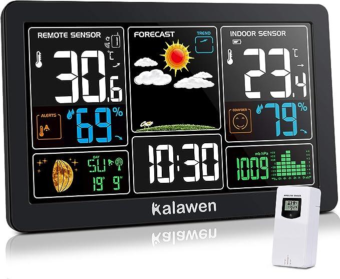 Kalawen Weather Station with Outdoor Indoor Sensor - Premium Quality