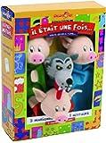 Au Sycomore MAST304 - Marionnettes à Main - Trois Petits Cochons, Loup - Coffret de Trois Marionnettes avec Livre d'Histoire