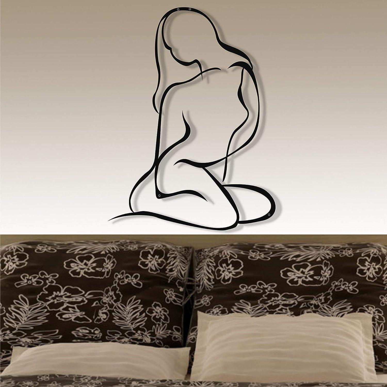 "Beauty Wall Art- 3D Woman Silhouette Metal Wall Decor Home Office Decoration Bedroom Living Room Decor Sculpture (Black, 23""W x 30""H / 58x76cm)"