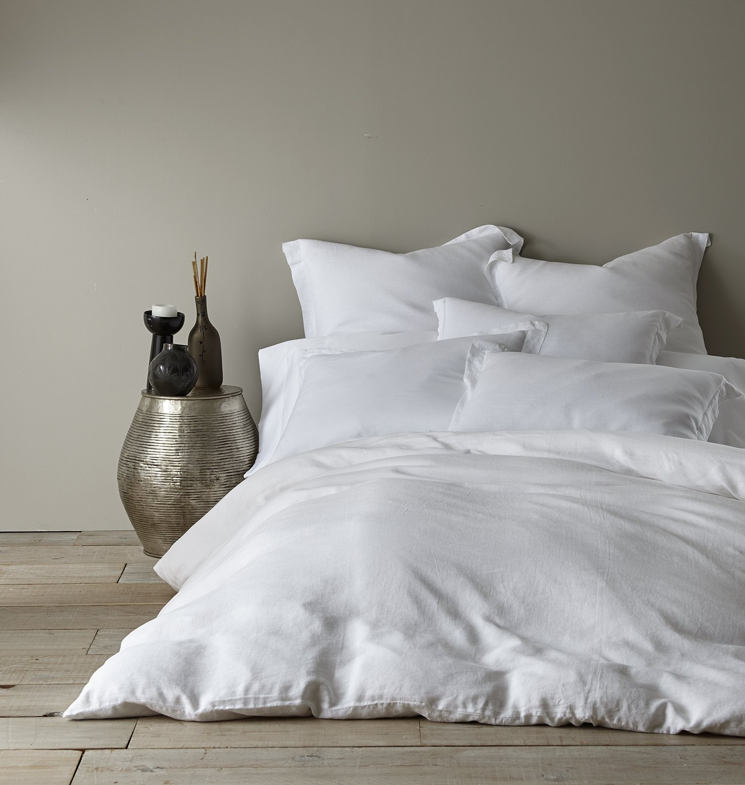 Washed Linen White Twin Duvet Cover