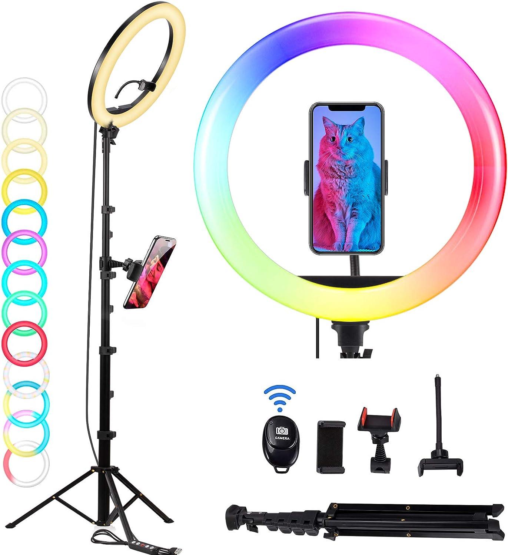 LED Ringlicht mit Stativ & Fernbedienung, OMMO 12 Zoll Ringleuchte 9 Farbe 10 Helligkeitsstufen 3 Handyhalter RGB Selfie Ringlampe für Makeup Live-Streaming Fotografie TikTok YouTube