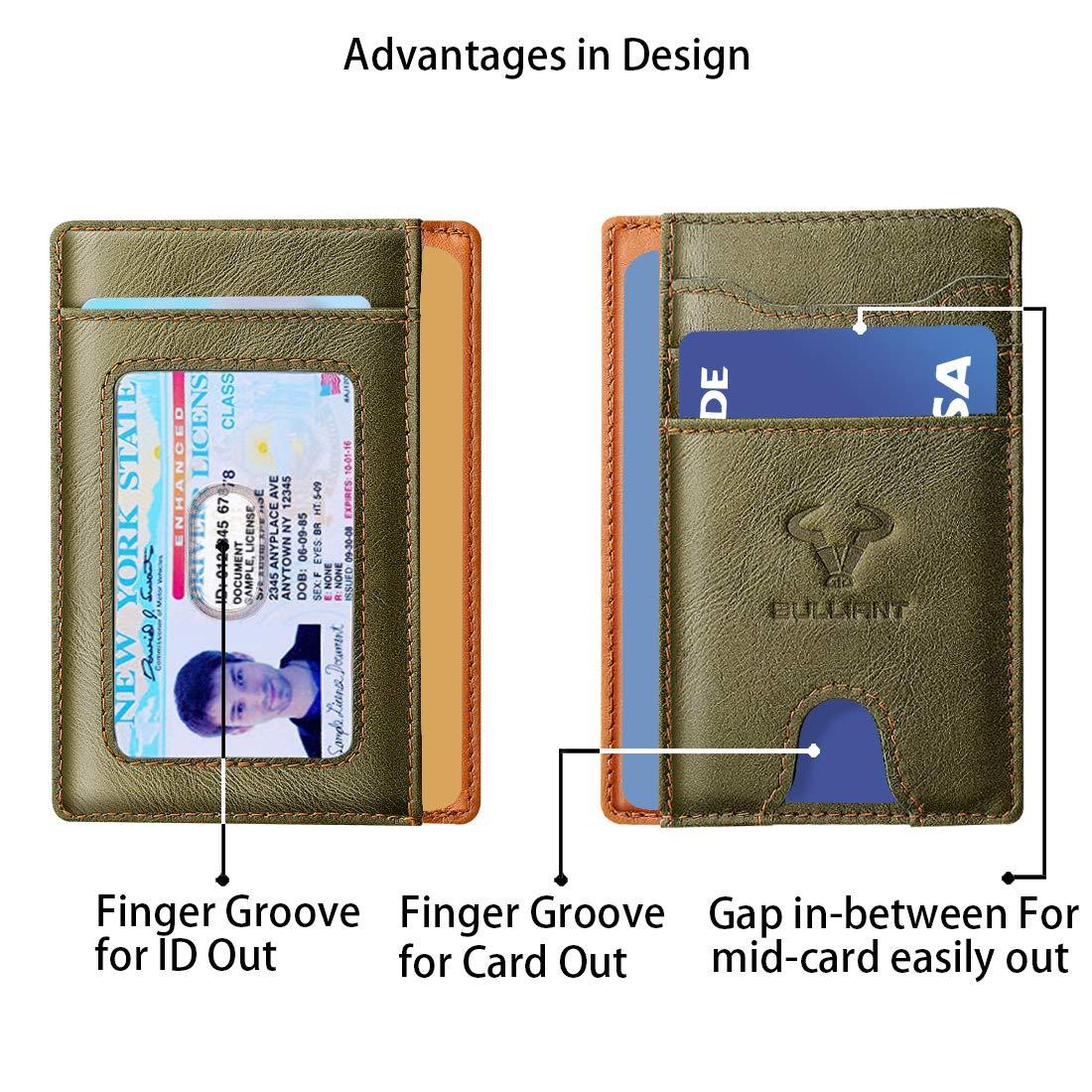 Porte-Cartes De Cr/édit /&Cash-Bulliant Mini Slim Portefeuille en Cuir Homme Femme RFID Blocage