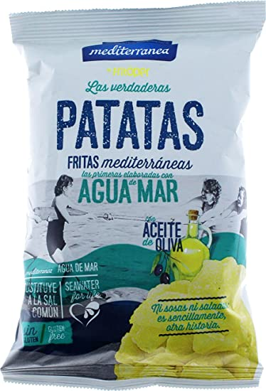Patatas fritas Mediterranea elaboradas con aceite de oliva y agua de mar, bolsa de 50 gramos, delicioso sabor, textura crujiente
