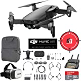 DJI Mavic Air (Onyx Black) Drone Combo 4K Wi-Fi Quadcopter with Remote Controller Mobile Go Bundle with Backpack VR Goggles Landing Pad 16GB microSDHC Card and HD Filter Kit