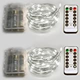 Homeleo 2-Pack Flexible Indoor LED String Light, Powered by AA Battery, 8 Modes Lighting, Brightness Dimmable, 33ft 100Led(Cool White)