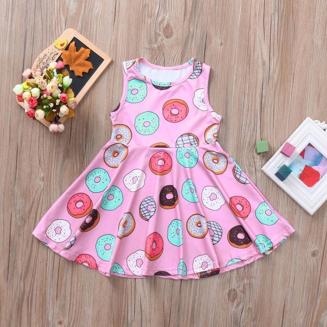 KaiCranLittle Girls Cotton Dress Sleeveless Cartoon Pattern Comfortable Dress Clothes Outfits