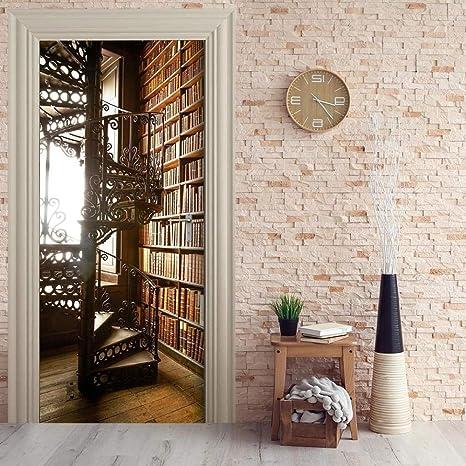 DIOPN Etiqueta de la puerta Self Paper Escalera de caracol Estantería Decoración para el hogar Sala de estar PVC Impermeable 3D Sticker Art (77 * 200CM): Amazon.es: Bricolaje y herramientas