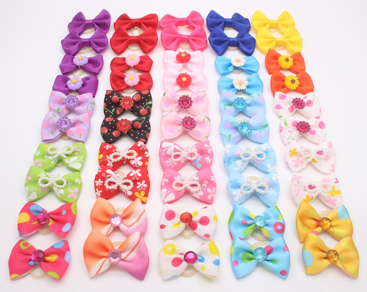 YOY 50pcs/25 Pairs Adorable Grosgrain Ribbon Pet Dog Hair Bows with Rubber Bands - Puppy Topknot Cat Kitty Doggy Grooming Hair Accessories Bow knots Headdress Flowers Set for Groomer by YOY (Image #4)