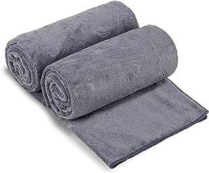 "JML Bath Towels 2 Pack, Oversized Microfiber Bath Towels(30"" x 60""), Soft and Super Absorption Multipurpose Towels for Bath, Beach, Pool, Sport - Grey Floral Pattern"
