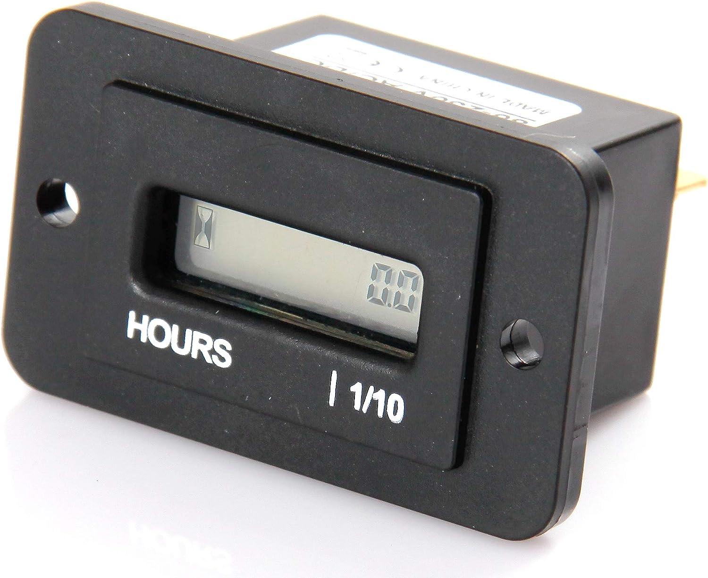 Jayron JR-HM010DC Medidor de horas LCD rectangular DC4.5V-90V para motor,carro Barco Tractor Generador Motor Cortacésped Reajustable
