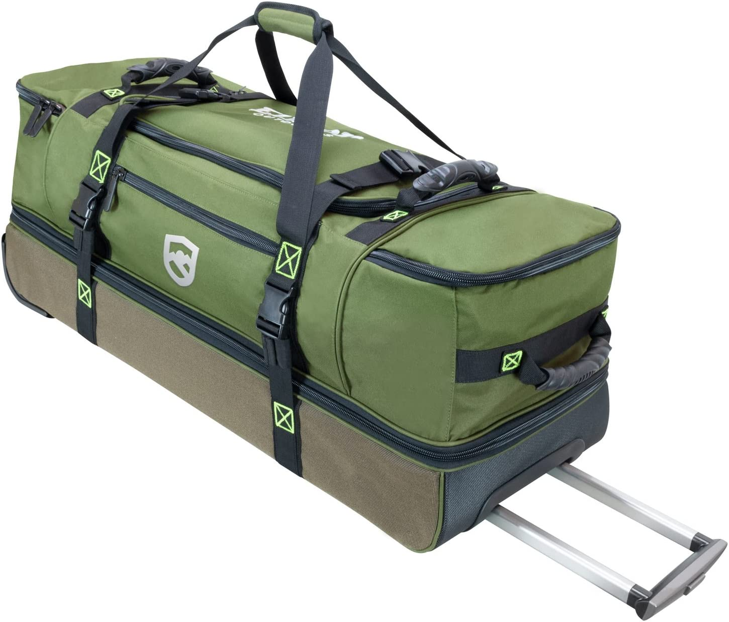 Elkton Outdoors Rolling Fishing Duffle Bag with Wet, Dry Gear Pockets and Retractable Handle, 37 x 14 x 13.5 inches, Holds and Organizes Gear, Bait, Cargo and Tackle
