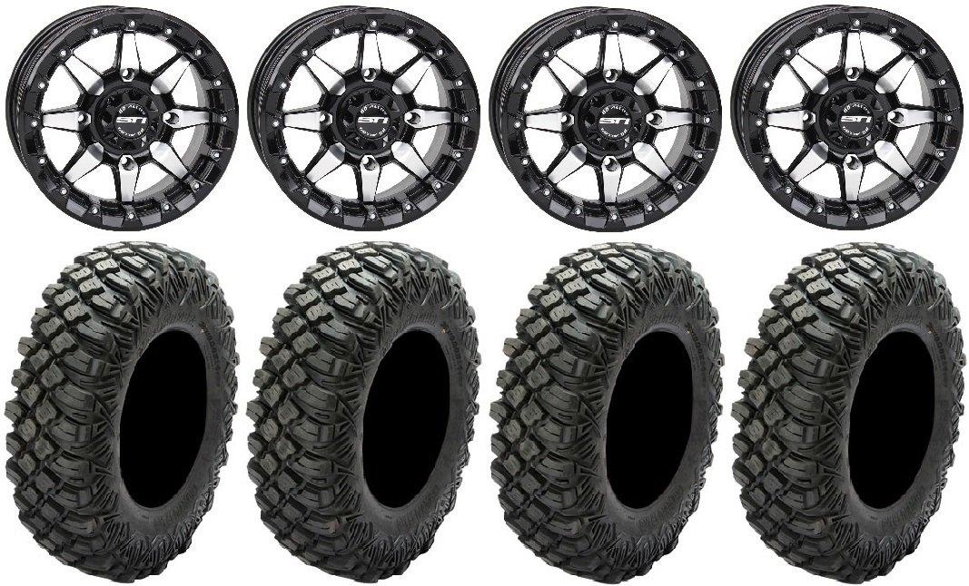 Bundle - 9 Items: STI HD5 14'' Beadlock GB Wheels 30'' Crawler XR Tires [4x156 Bolt Pattern 12mmx1.5 Lug Kit] by Powersports Bundle (Image #1)