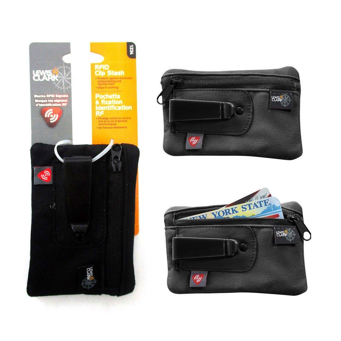 Clip On Stash Pouch Wallet Travel Safe Security Id Holder Lewis N Clark BK