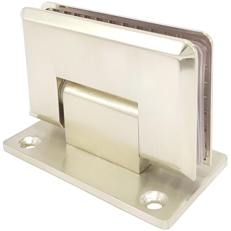 doble cara 90 grados ligero satinado N Bisagra de ducha para puerta de cristal y pared