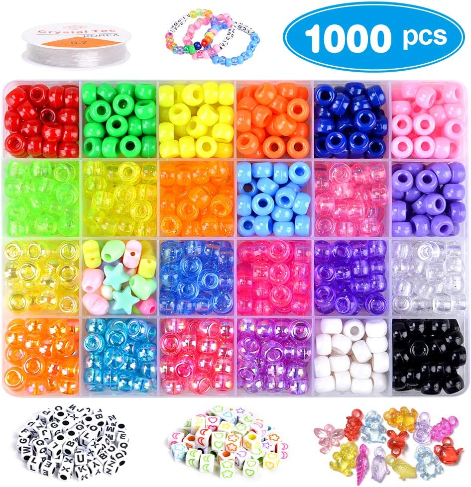VICOVI 1000+pcs Pony Beads Kit for Bracelet Jewelry Making, Hair Beads, Include 23 Colors Rainbow Beads(9mm), 260 Letter Beads, 50 Color Beads, 24 Heart & Heart Beads and Rolls Elastic String.