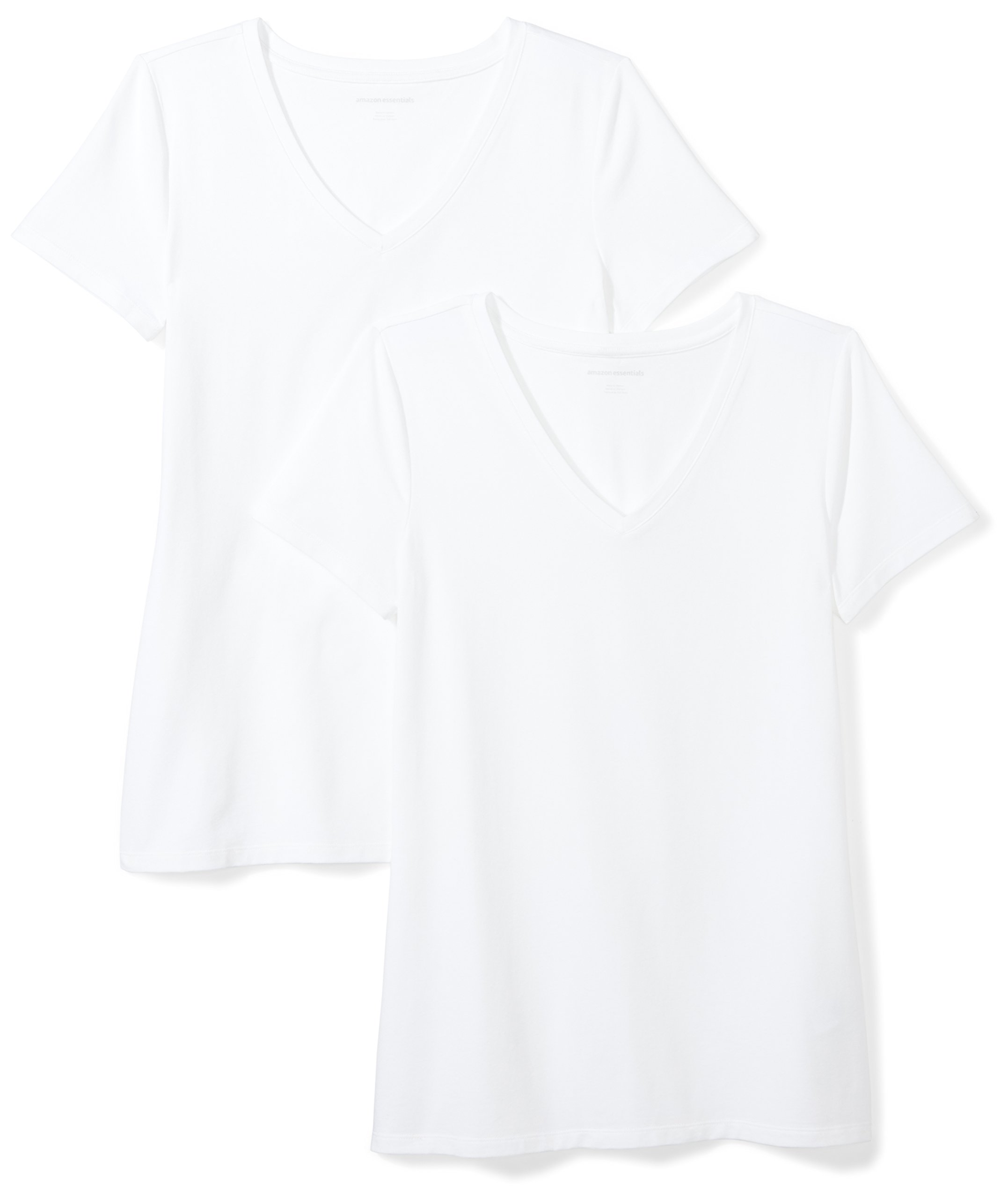 Amazon Essentials Women's 2-Pack Short-Sleeve V-Neck Solid T-Shirt, White, Medium