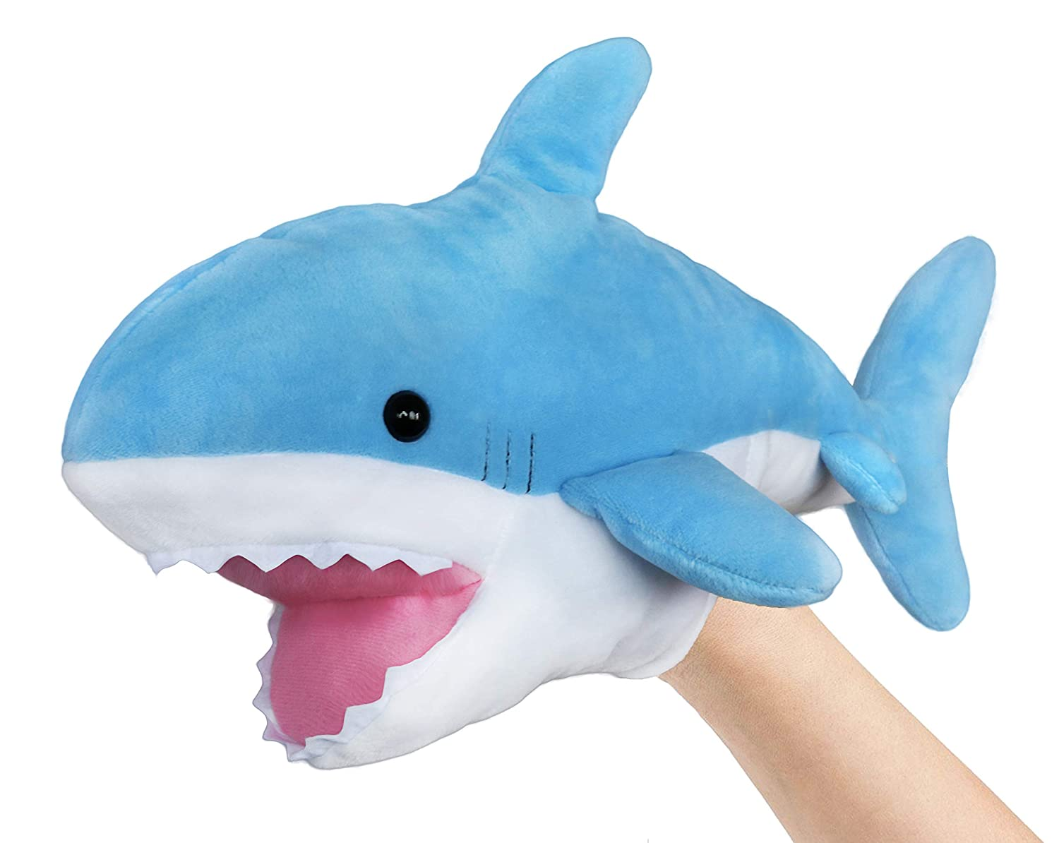 Ice King Bear Cute Blue Plush Shark Hand Puppet - Stuffed Animal Toy - 14 Inches Long