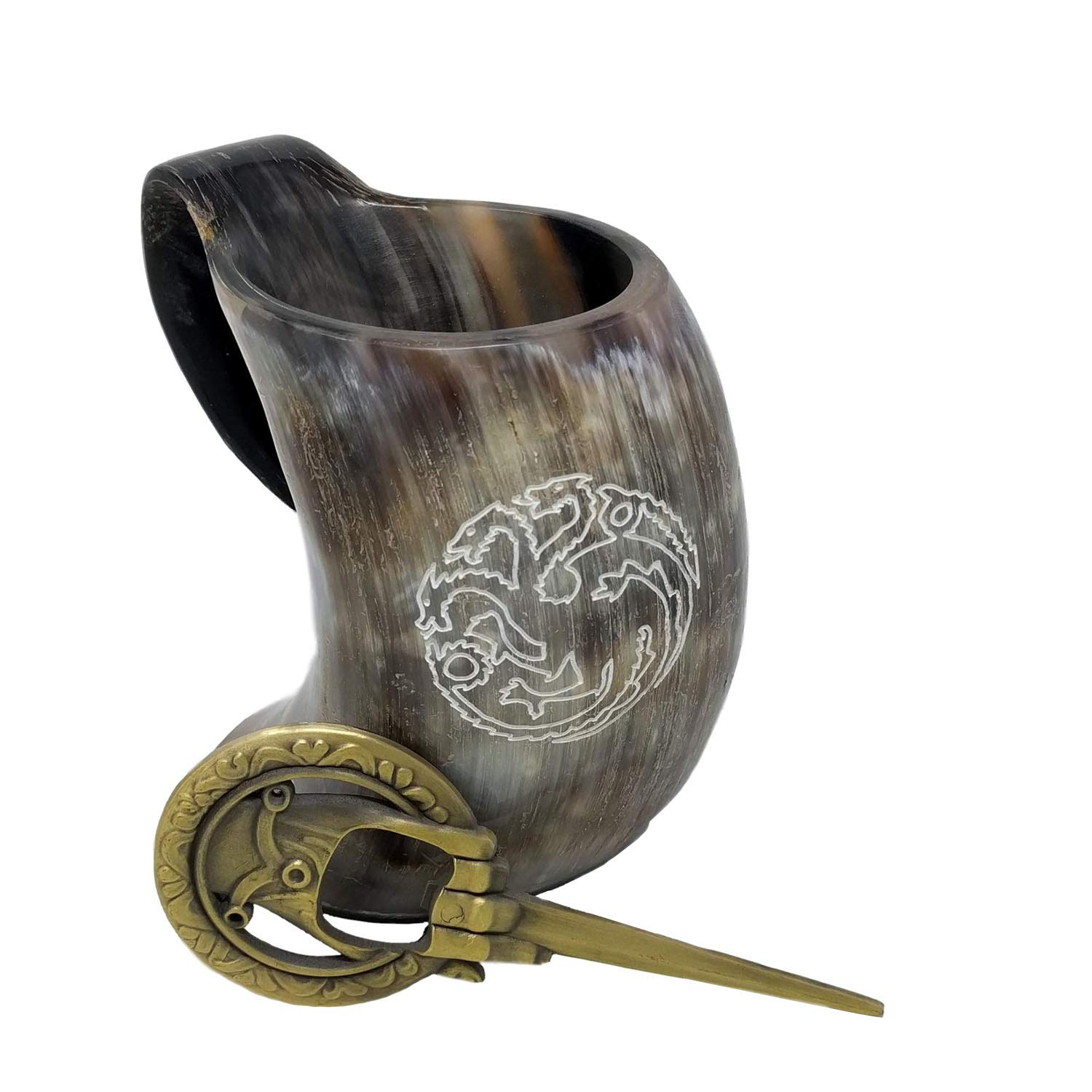Alehorn Authentic Hand of the King Style Bottle Opener & The Original House Targaryen Sigil Viking Drinking Horn Tankard for Beer, Ale-Medieval Inspired Mug - Perfect Gift for Game of Thrones Fans