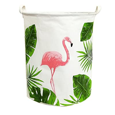 TIBAOLOVER19.7 Large Sized Waterproof Foldable Laundry Hamper Bucket,Dirty Clothes Laundry Basket, Bin Storage Organizer for Toy Collection,Canvas Storage Basket with Stylish Cartoon Design(Flamingo): Home & Kitchen