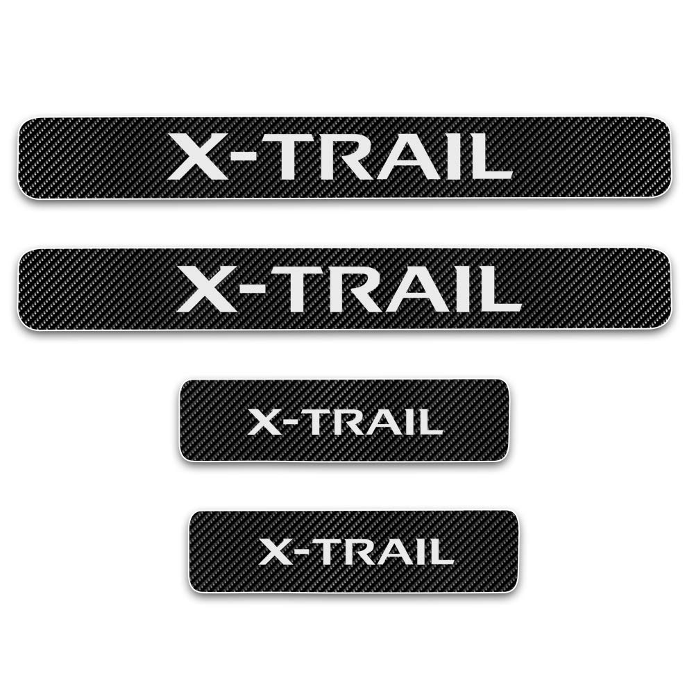 For X-TRAIL 4D M Car Pedal Covers Door Sill Protectors Entry Guard Scuff Plate Trims Anti-Scratch Reflective Carbon Fiber Stickers Auto Accessories Exterior Styling 4Pcs White