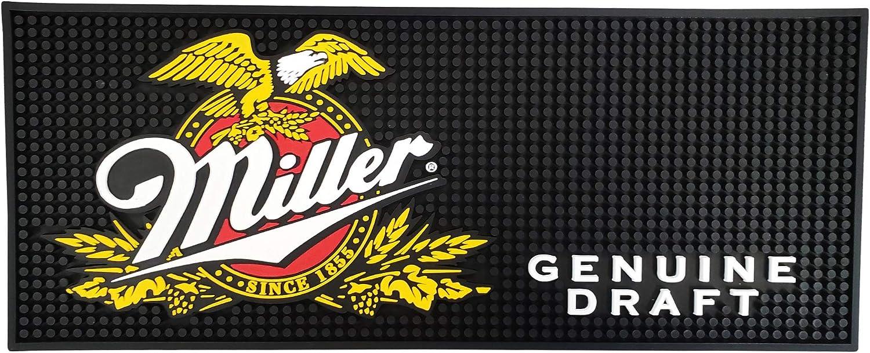 """Miller Genuine Draft Beer Rectangular Bar Mat Spill Mat Rail Drip Mat - 20.5"""" x 8.25"""""""