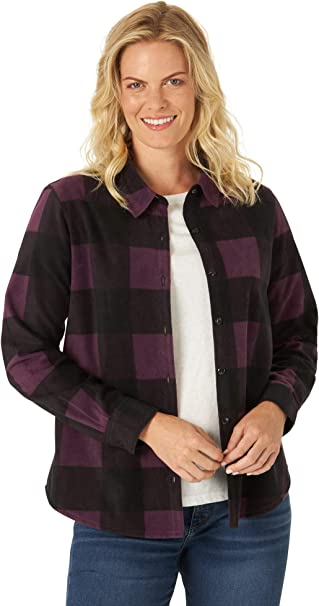 Riders by Lee Indigo Damen Plus Size Long Sleeve Front Fleece Shirt with Cinch Waist Hemd