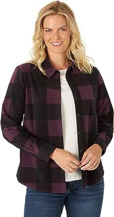 Riders by Lee Indigo Womens Long Sleeve Button Front Pattern Fleece Shirt Long Sleeve Shirt
