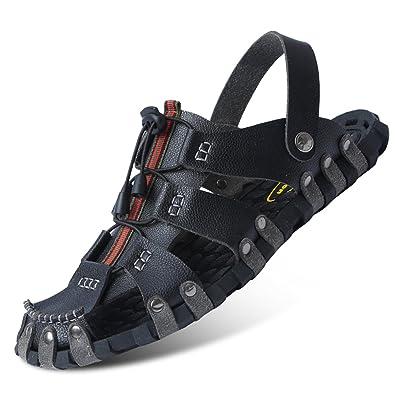 Herren Slide Geschlossene Sandalen Leder Freizeit Hausschuhe Outdoor Sommer Strand Pantolette