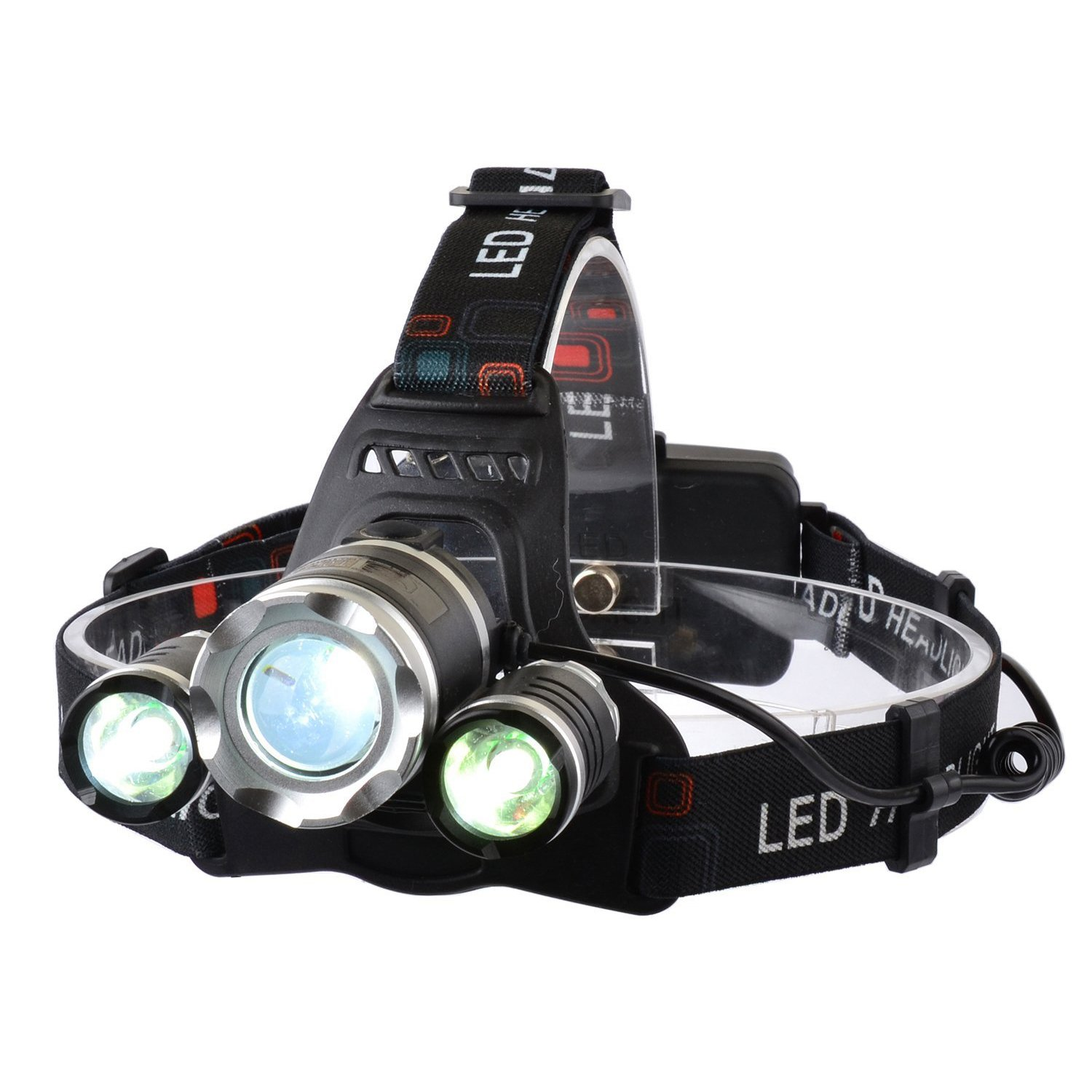 LED Headlamp Smiling Shark Bright 3 XML-T6 LED Headlight 5000 Lumen 4 Modes Zoomable Water Resistant Rechargeable Battery SS-T027B