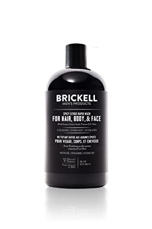 Brickell Men's Rapid Wash, Natural and Organic 3 in 1 Body Wash Gel for Men, 16 Ounce, Spicy Citrus Scent