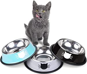 Legendog 3Pcs Cat Bowls, Cute Cat Food Bowls, Stainless Steel Cat Bowl, Cat Bowls for Food and Water, Cat Food Dish with Food Scoops…