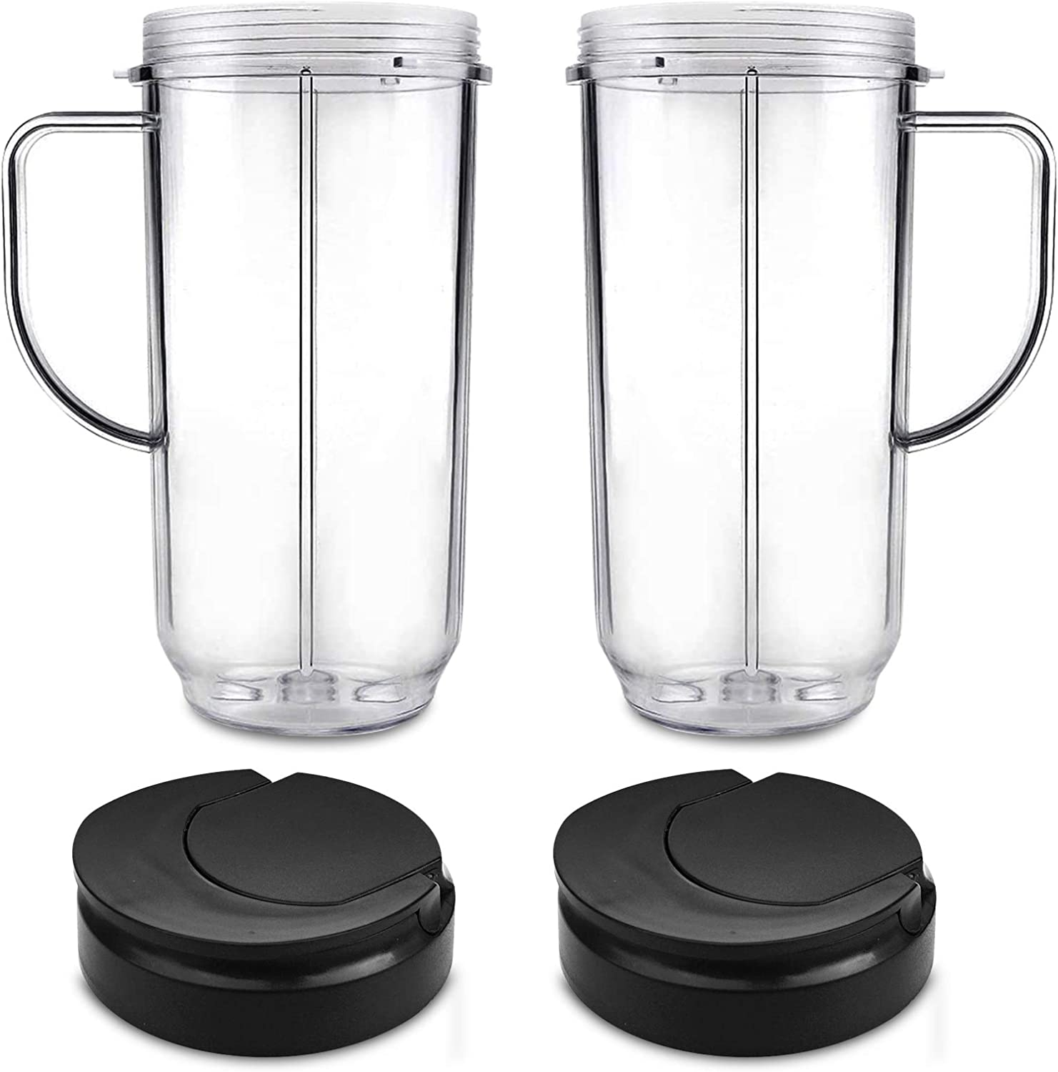 Replacement Tall Mug Cup With Flip Top To Go Lids, 2 Pack Tall 22oz Cups with 2 Pack Flip Top To-Go Lids Replacement Parts Compatible with 250w Magic Bullet Mugs & Cups Blender Juicer Mixer