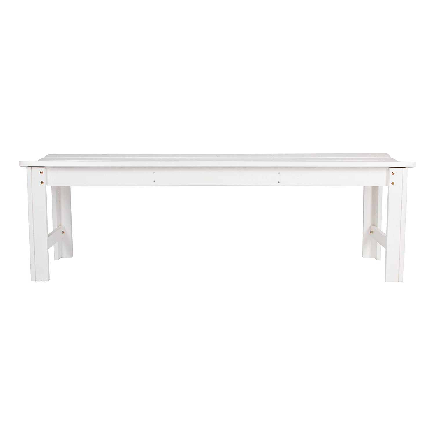 Shine Company Inc. 4205WT Backless Garden Bench, 5 Ft, White