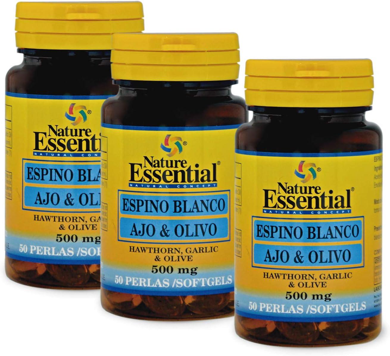 Espino blanco + ajo + olivo 500 mg. 50 perlas (Pack 3 unid.)