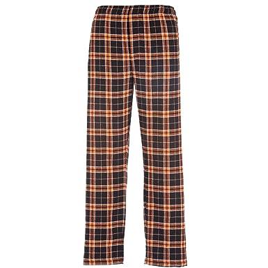 Amazon.com: Orange Black Plaid Check Classic Cut Flannel Pants ...