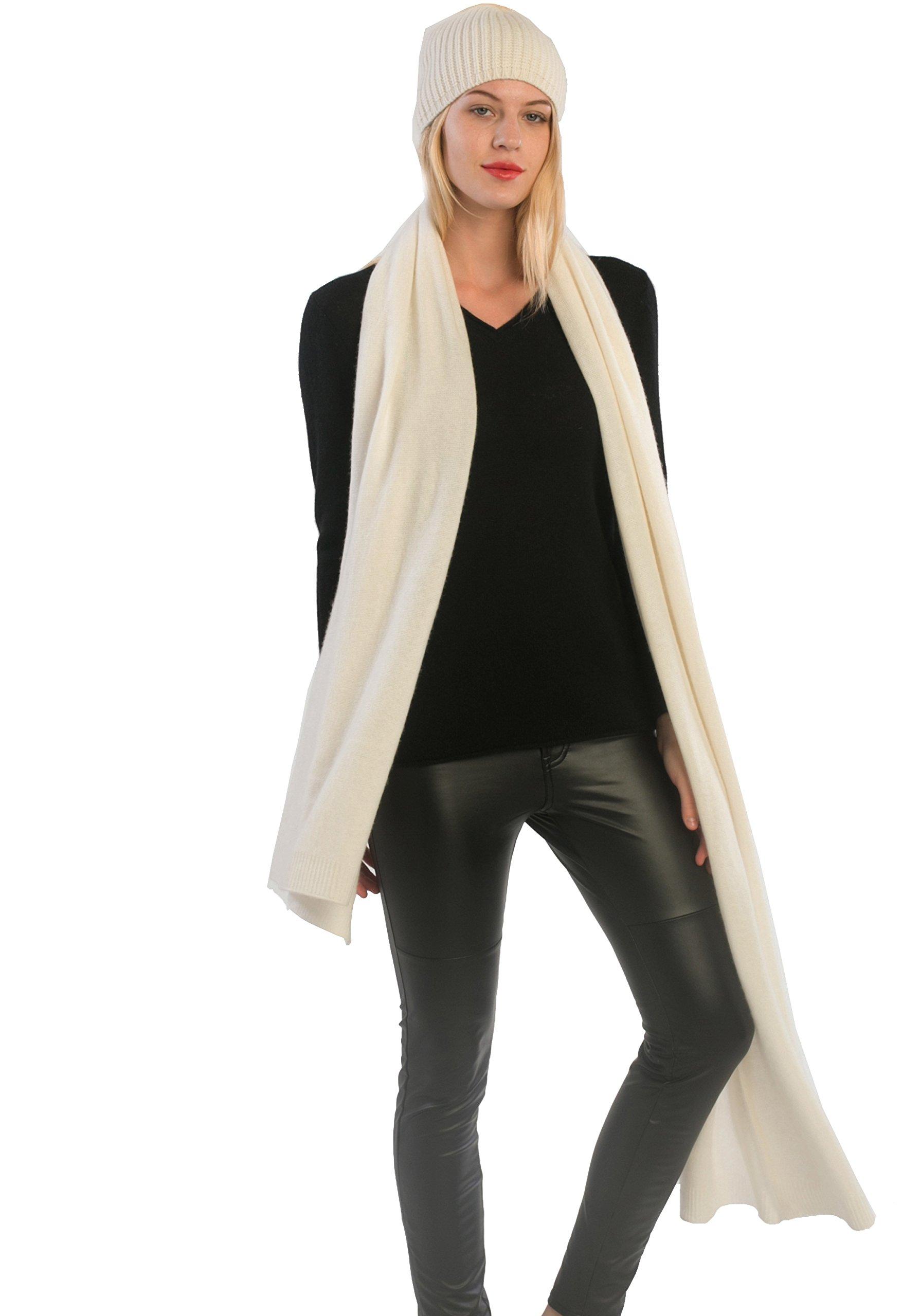 cashmere 4 U Women's 100% Cashmere Wrap Shawl Stole Extra Large Scarf (Ecru)