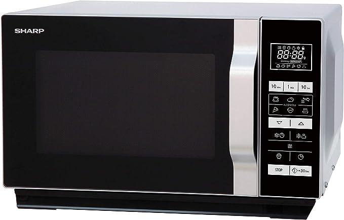 Opinión sobre Sharp R260S-Microondas (800 W,20 l de capacidad,5 niveles de potencia,8 programas automáticos de cocción automática con programa de palomitas,horquilla plana,sin plato giratorio),negro y plateado
