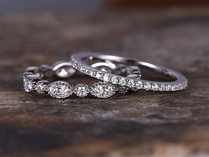 2pcs FULL Eternity Wedding Ring Set925 Sterling Silver Bandmilgrain Anniversary