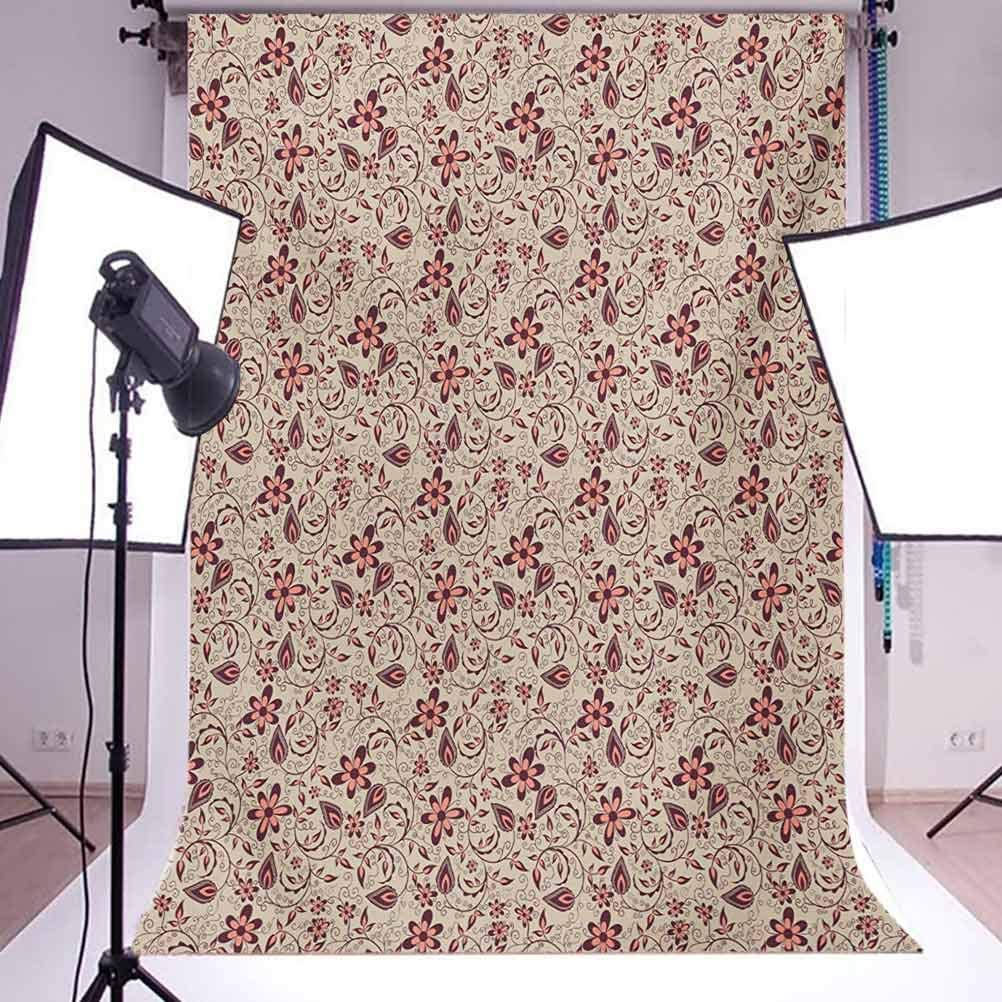 Floral 10x15 FT Photo Backdrops,Blossoming Spring Meadow Pattern in Retro Style with Artistic Curly Details Background for Party Home Decor Outdoorsy Theme Vinyl Shoot Props Tan Coral Maroon