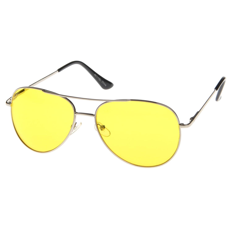 MLC Eyewear Hanford Aviator Fashion Sunglasses in Silver Frame Yellow Lenses