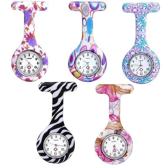 jsdde Relojes, Juego de 5 Enfermeras Fob Reloj de Silicona Enfermera Reloj de Bolsillo analógico de Cuarzo Reloj Relojes Set: Amazon.es: Relojes