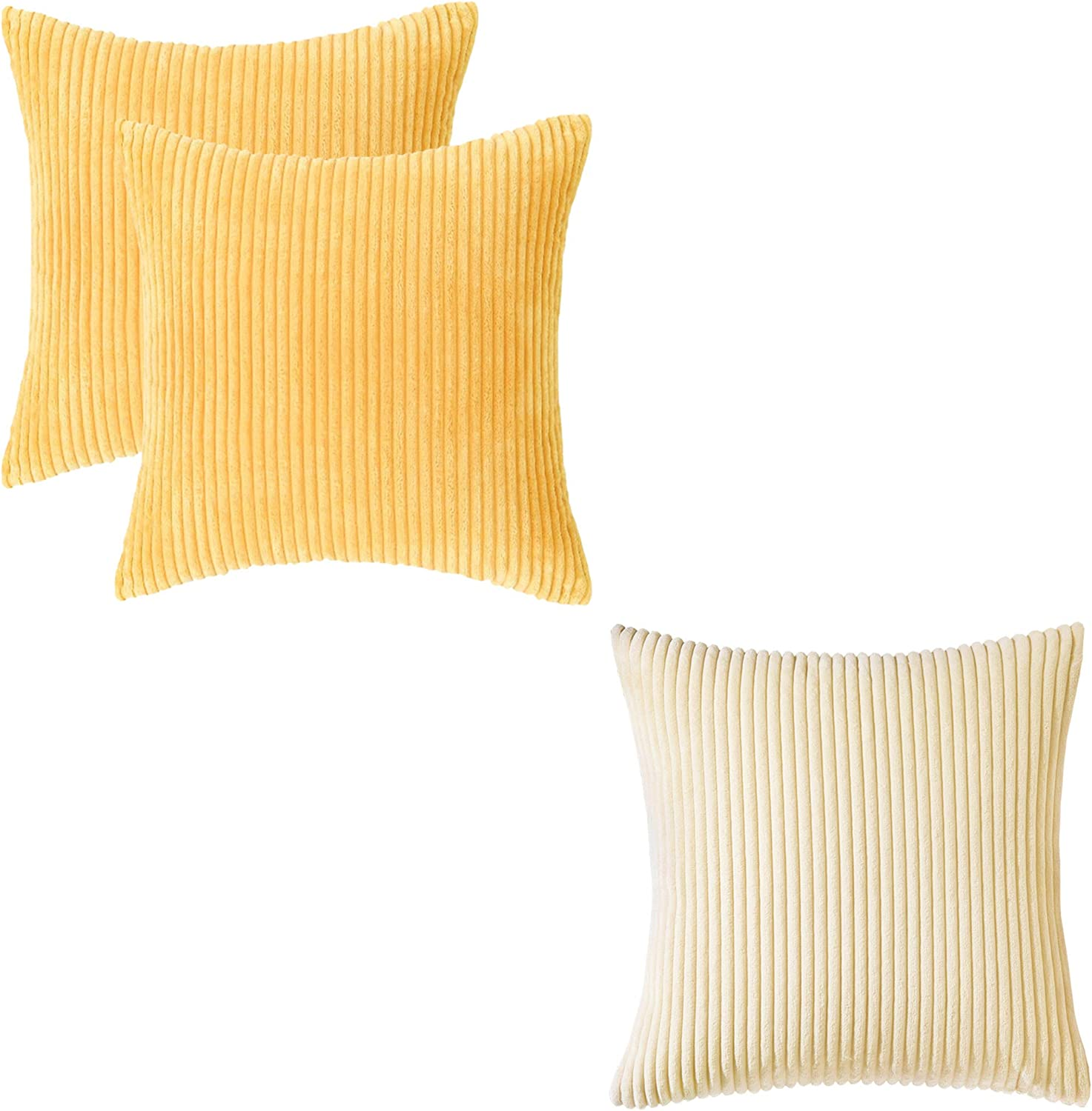 Home Brilliant Corduroy Striped Velvet Pillow Covers 18 inch Yellow, 2 pcs Bundle with Cream Cheese Pillow Covers 1 pc