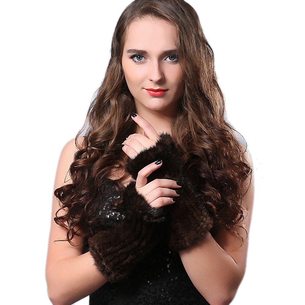 FURTALK Women's Mink Fur Knitted Fingerless Gloves Brown